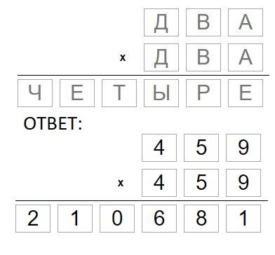 пример математического ребуса