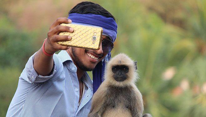 селфи с обезьянкой