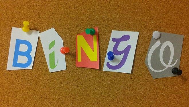 надпись бинго на доске