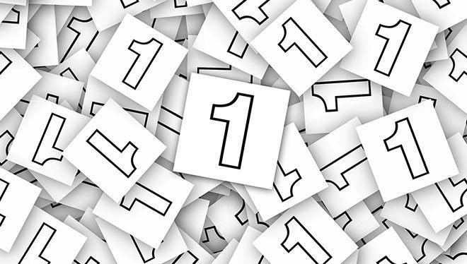 листочки с цифрой один