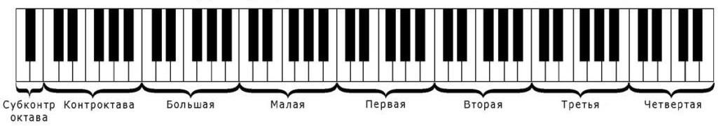 Октавы на примере клавиш пианино
