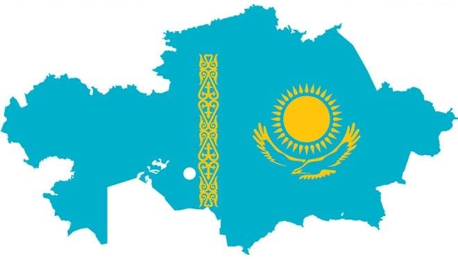казахский флаг и территория
